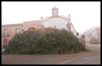 Imagen de la leña que, a día de hoy y a falta de dos jornadas para su quema, colma ya buena parte del espacio ante la ermita de San Antón.