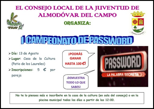 El Consejo Local de la Juventud organiza I CAMPEONATO DE PASSWORD