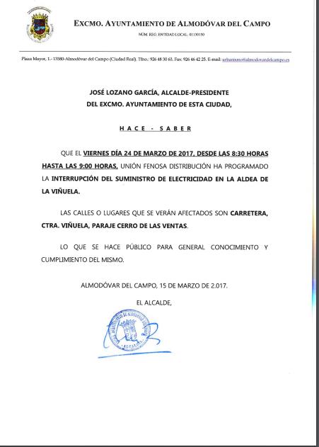 Corte suministro electrrico en La Viñuela