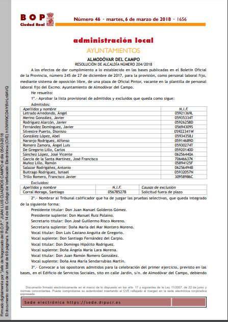 listas provisionales admitidos plaza pintor