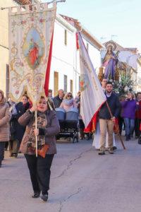 La imagen de santa Bárbara, en la procesión del pasado año